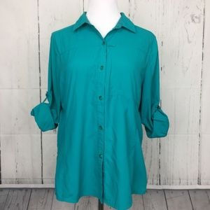REI L Top Shirt Turquoise Vented Roll Tab Sleeve